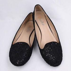Machi Women's Black Lace Sequin Ballet Flats